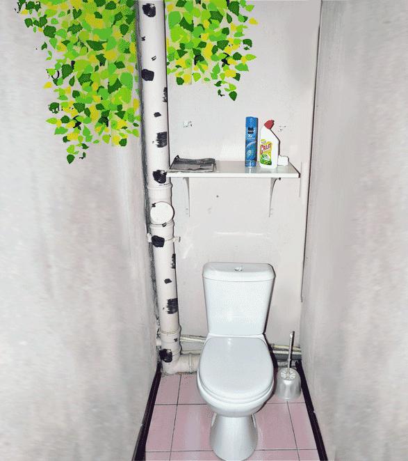 Как задекорировать трубы в туалете своими руками фото