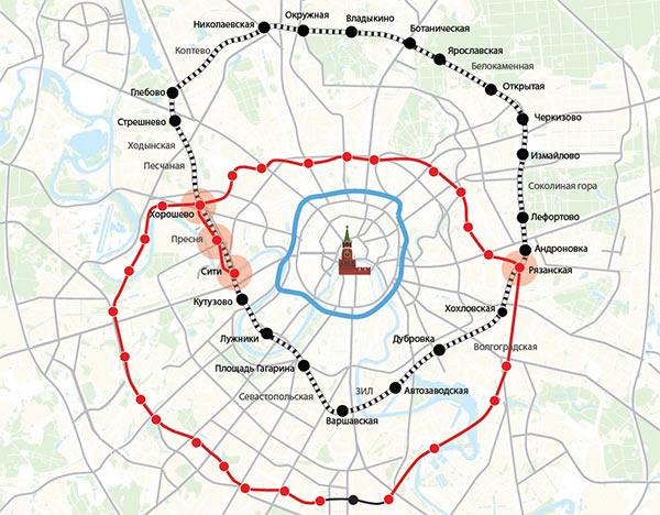 Схема московской кольцевой жд