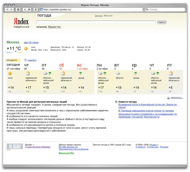 Сайт «Яндекс-погода» 2.0