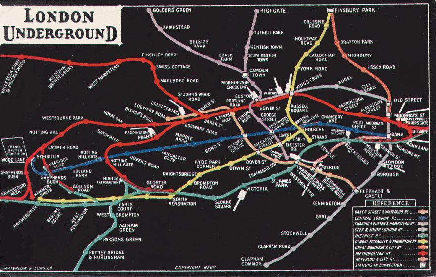 Первая схема метрополитена с