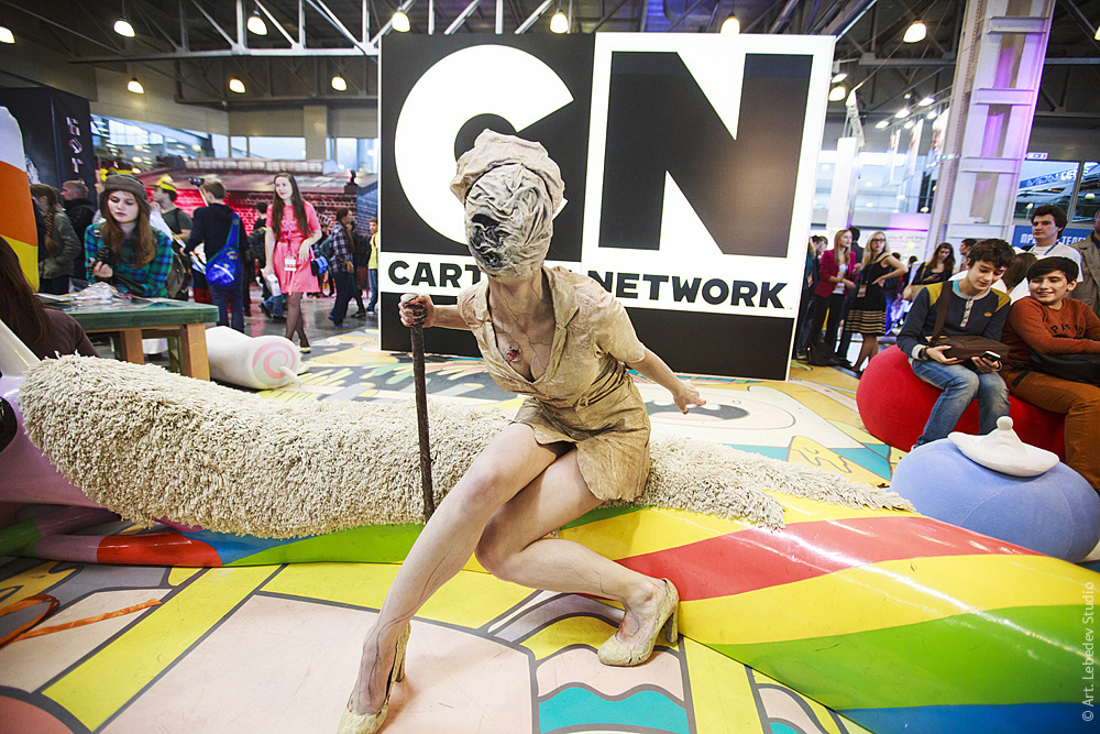 Comic Con Russia 2015 a girl in costume poses in front of the Cartoon Network booth furniture for which was designed at the studio. & Russia in photos of the day